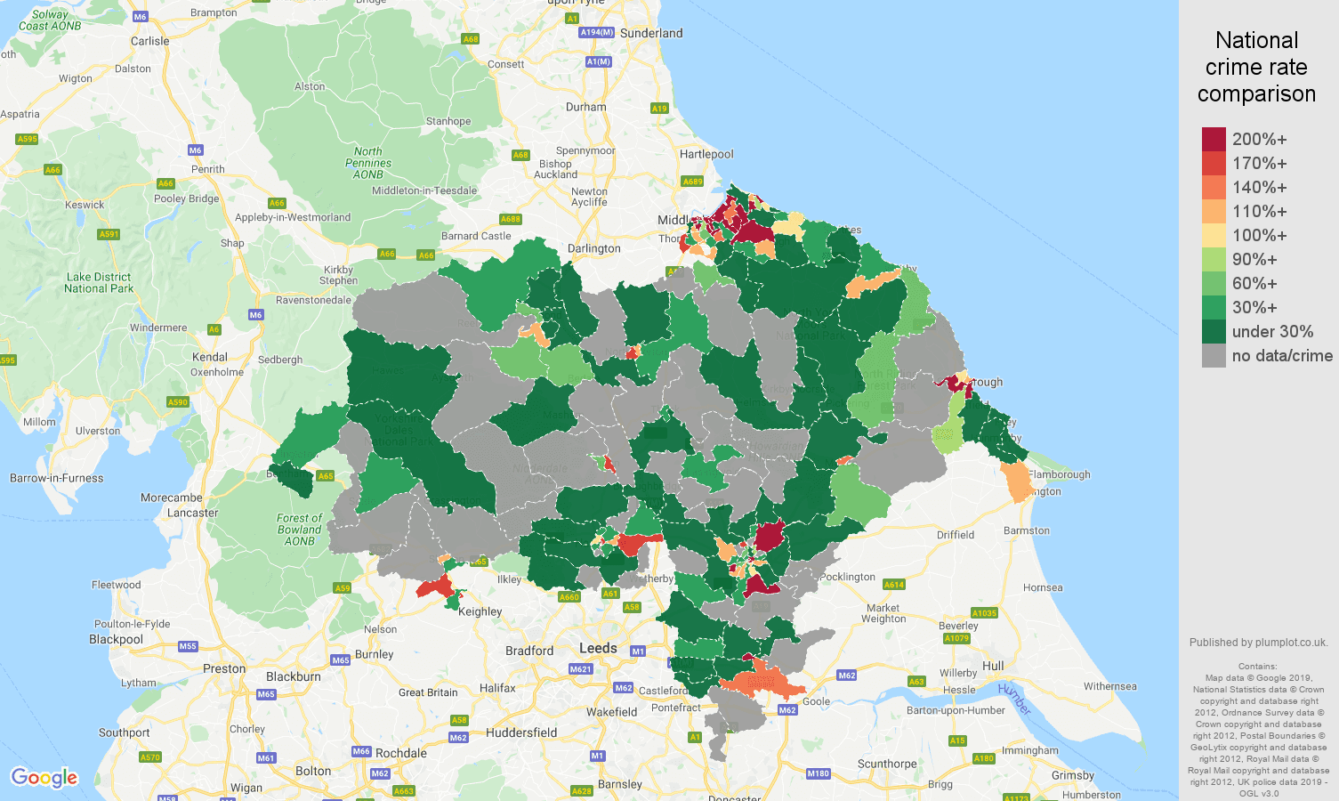 North Yorkshire shoplifting crime rate comparison map