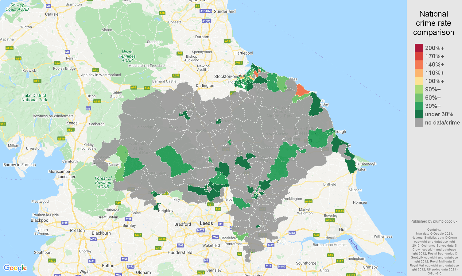 North Yorkshire theft from the person crime rate comparison map