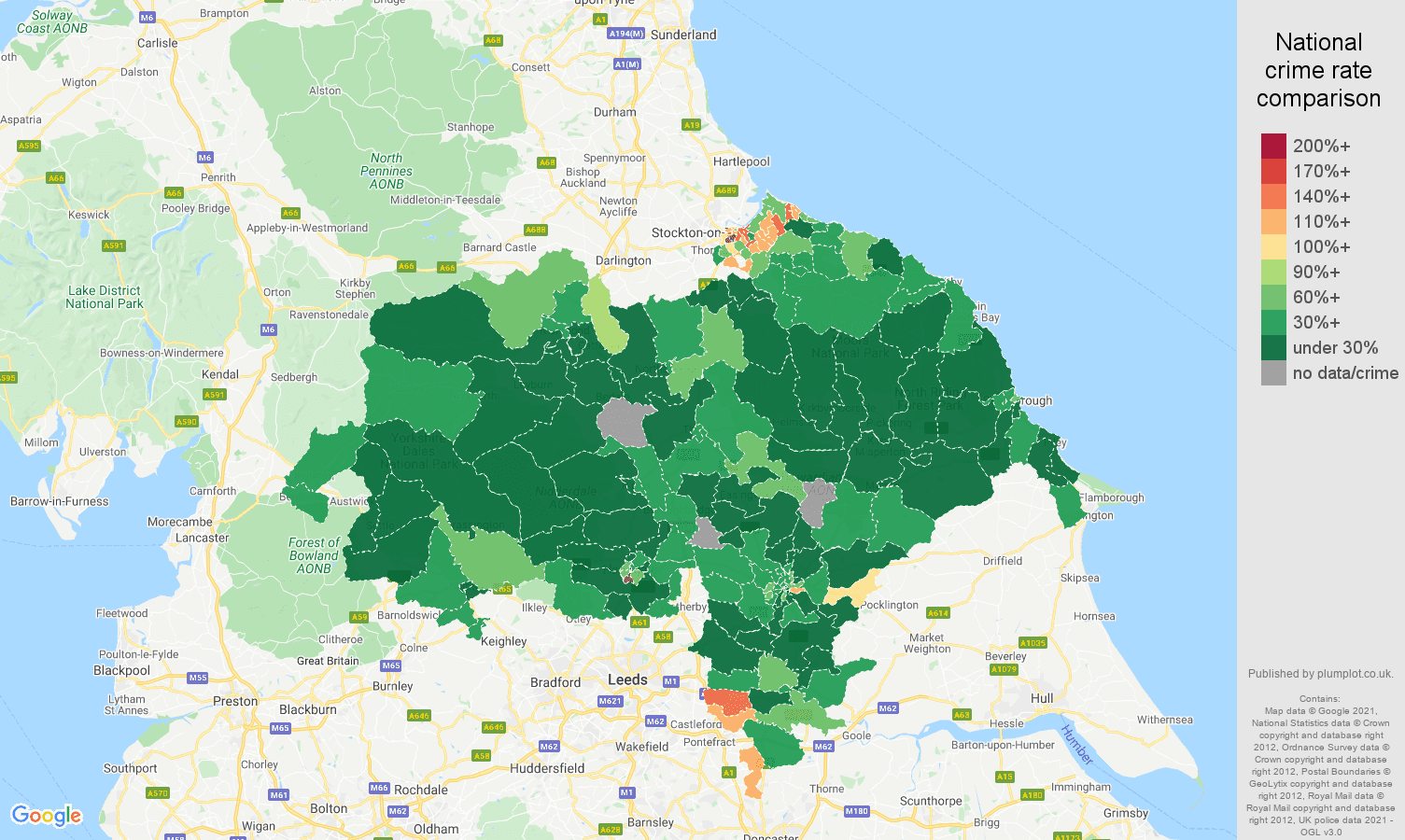 North Yorkshire vehicle crime rate comparison map