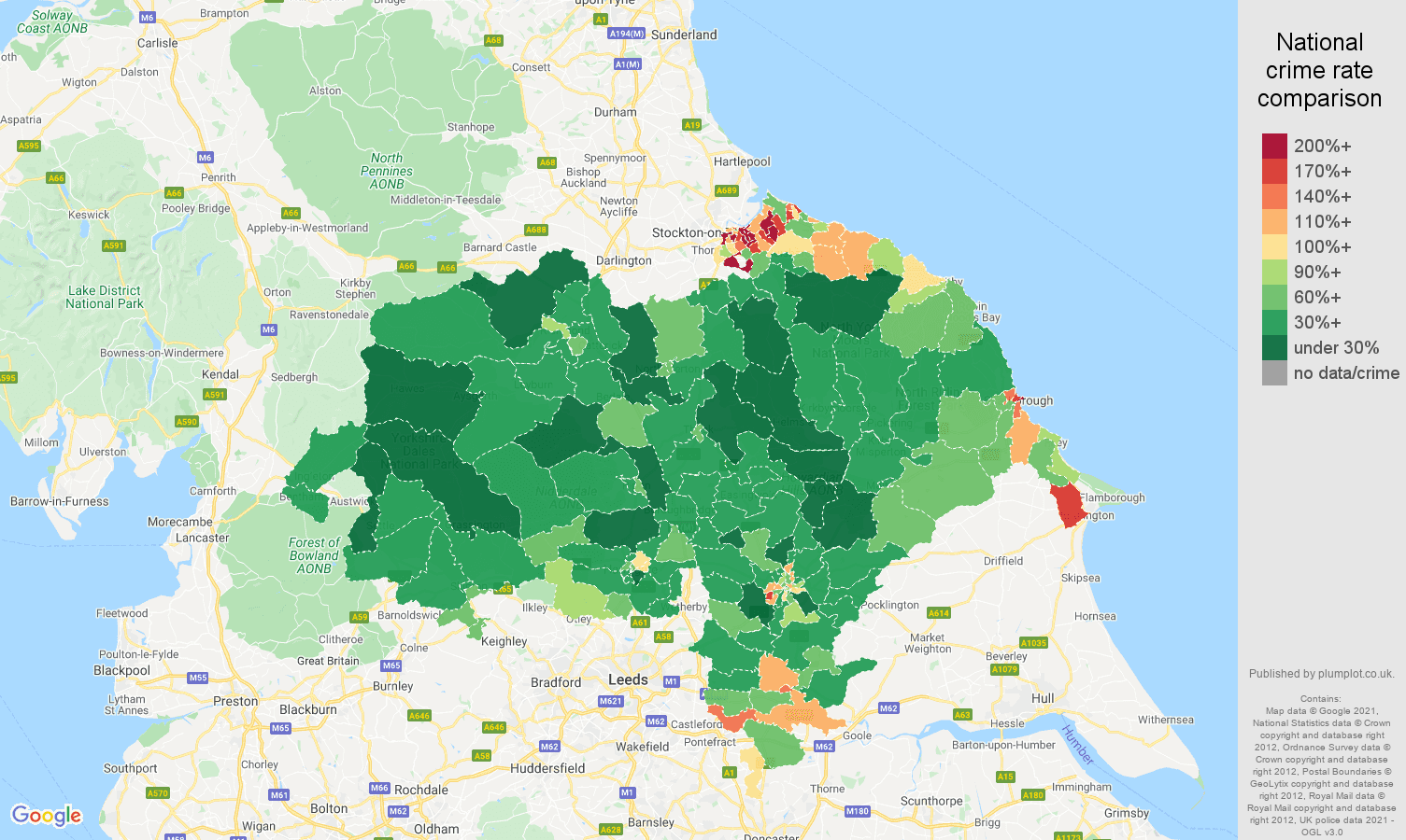 North Yorkshire violent crime rate comparison map