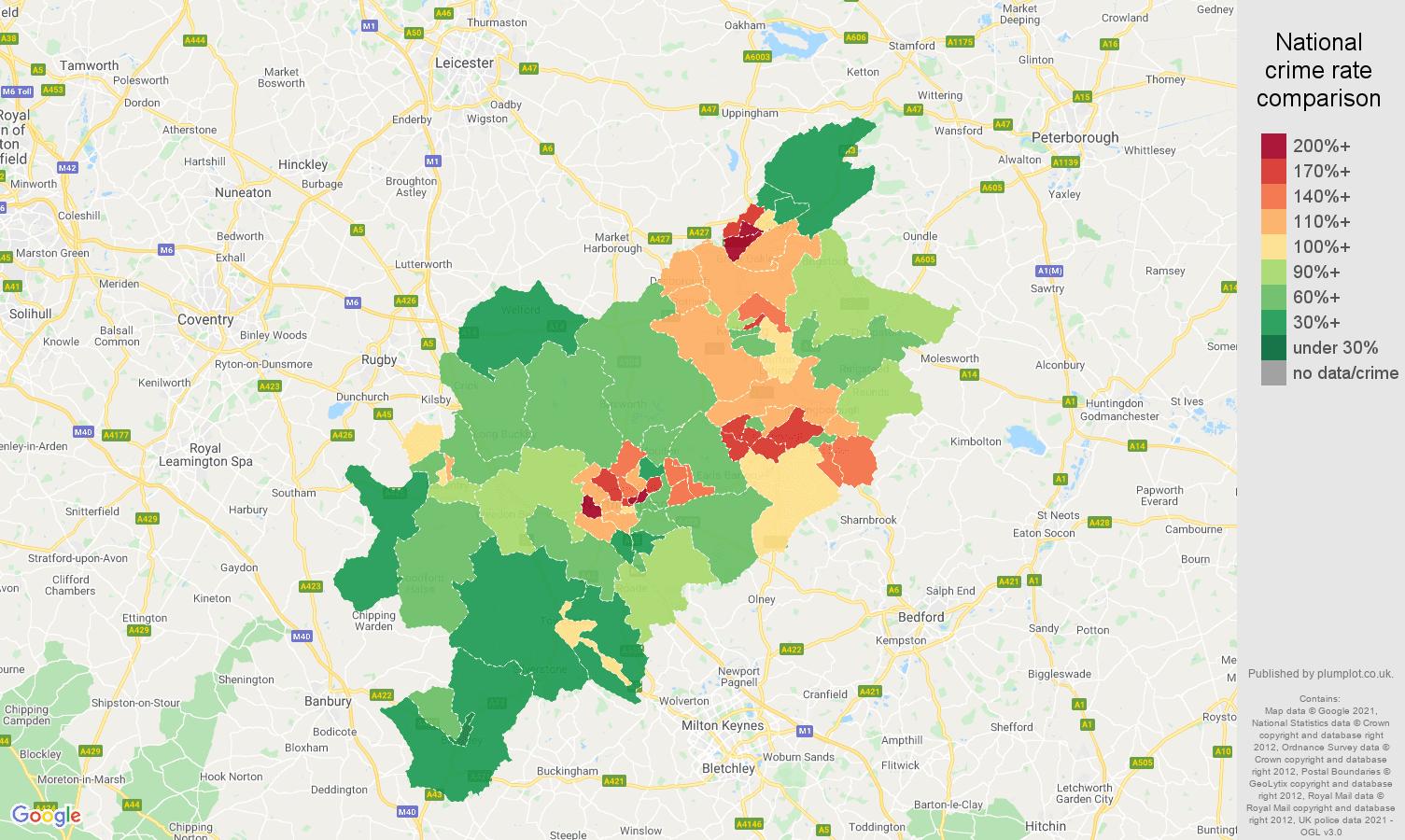 Northampton criminal damage and arson crime rate comparison map