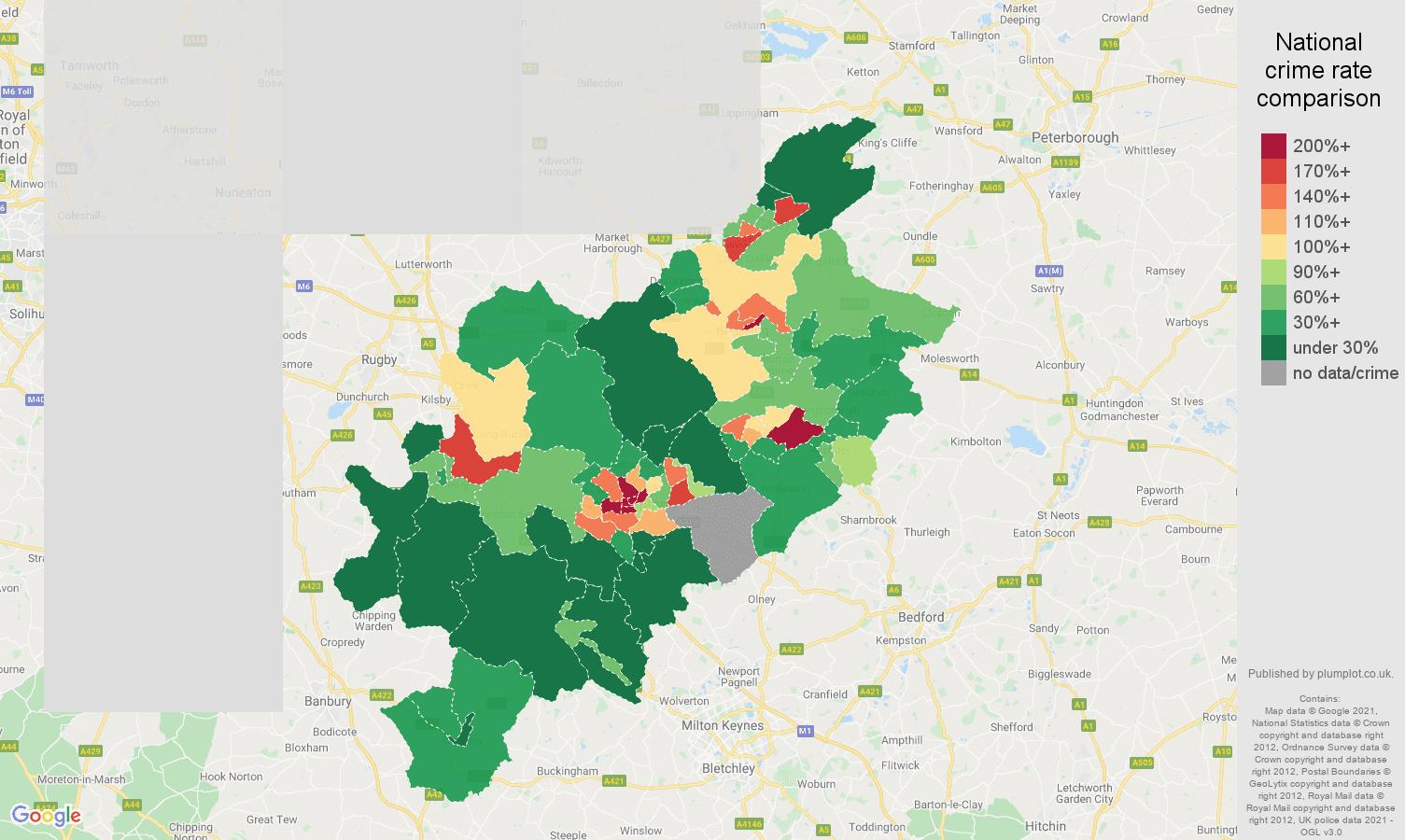 Northampton drugs crime rate comparison map
