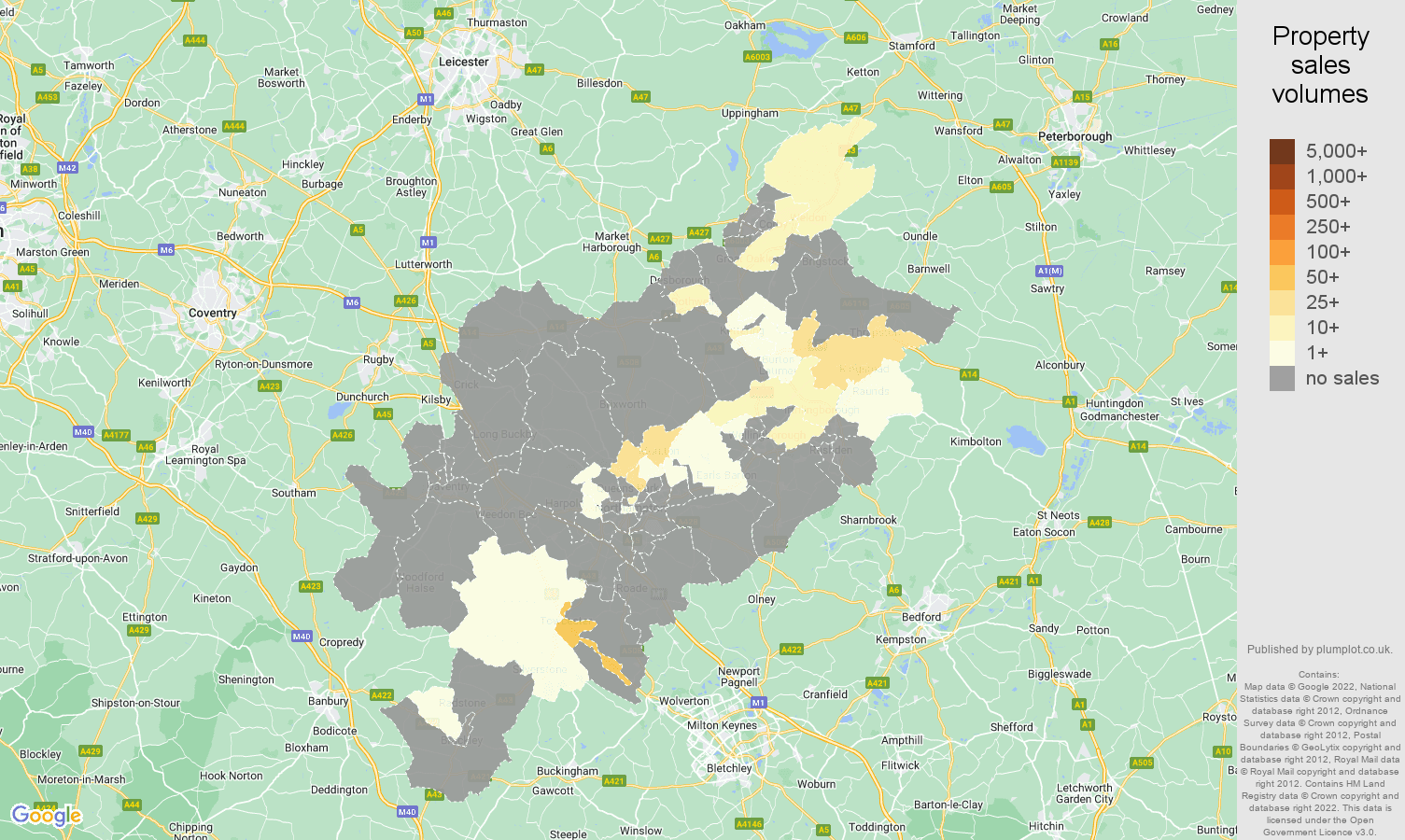 Northampton map of sales of new properties