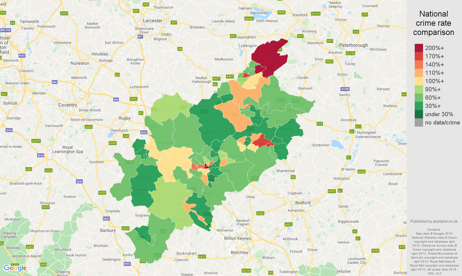 Northampton other theft crime rate comparison map