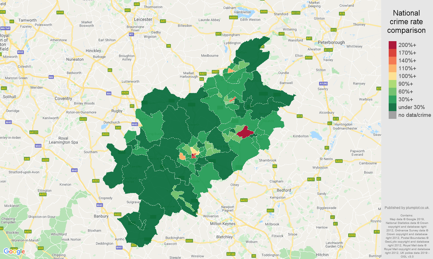 Northampton public order crime rate comparison map