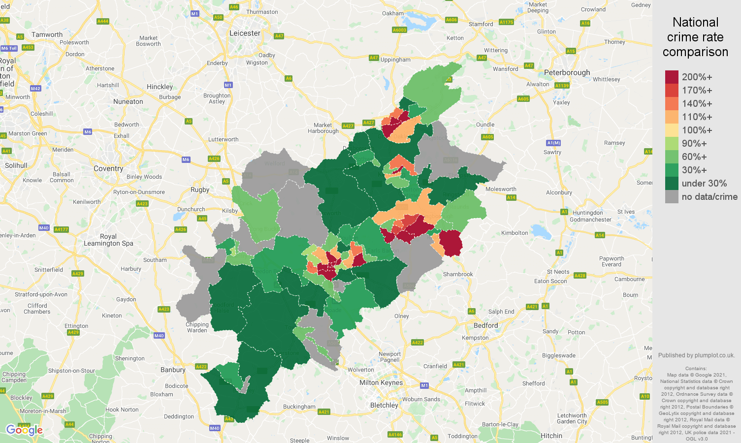 Northampton robbery crime rate comparison map