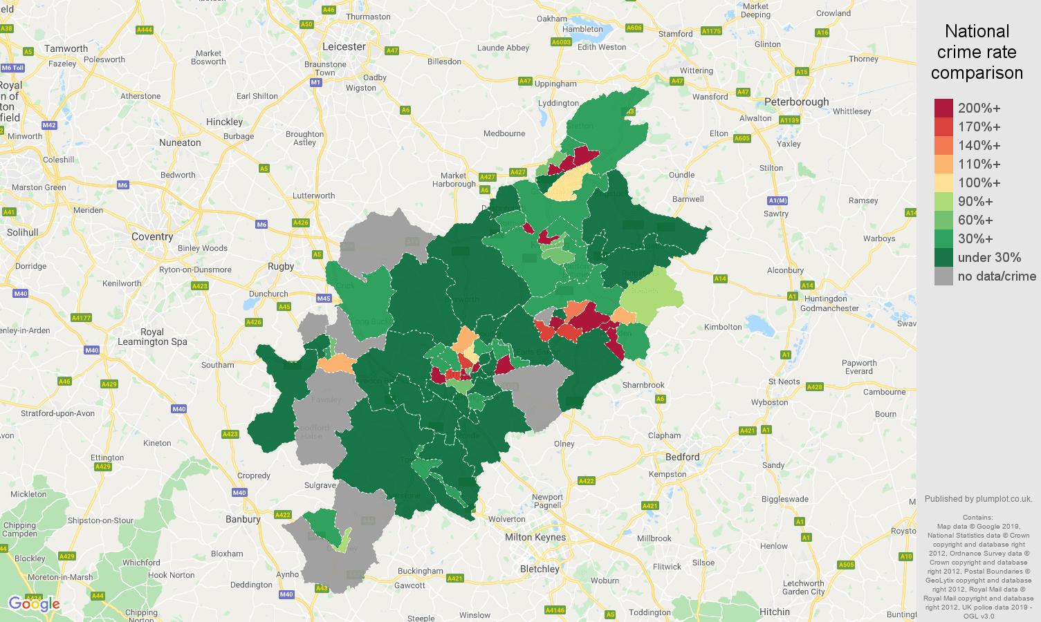 Northampton shoplifting crime rate comparison map