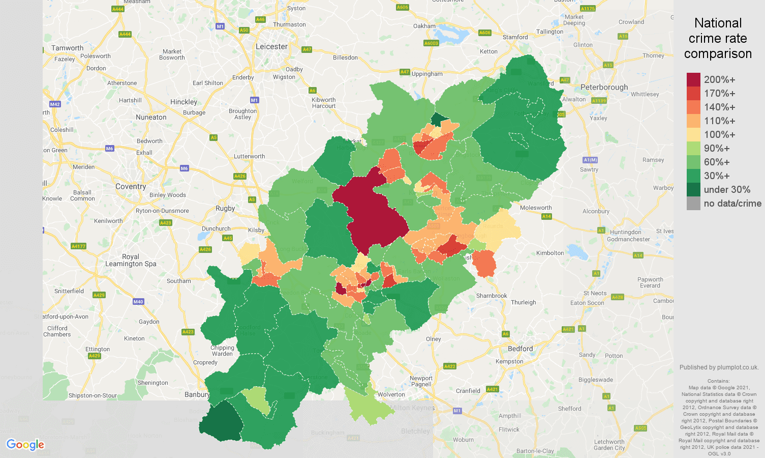 Northamptonshire antisocial behaviour crime rate comparison map