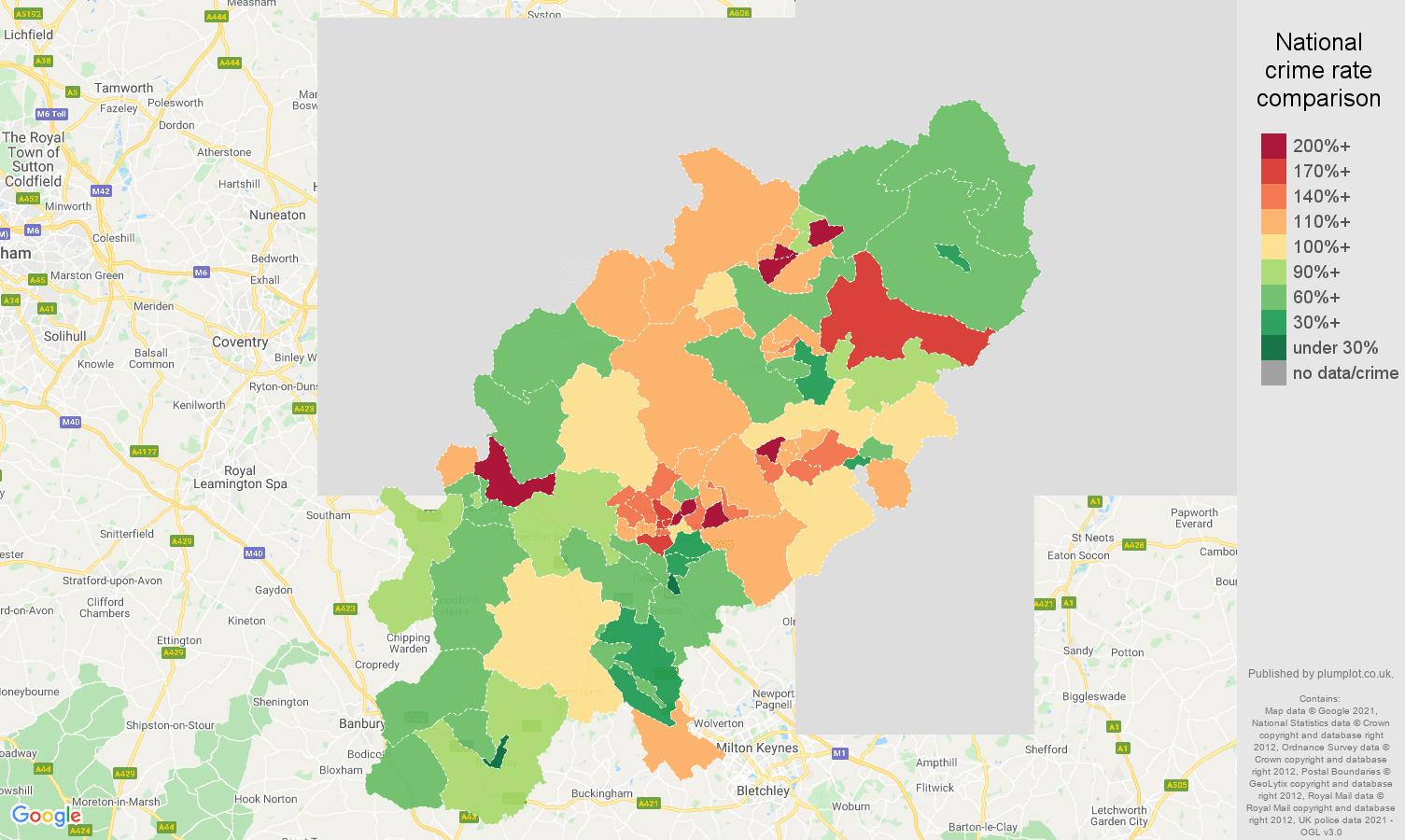 Northamptonshire burglary crime rate comparison map