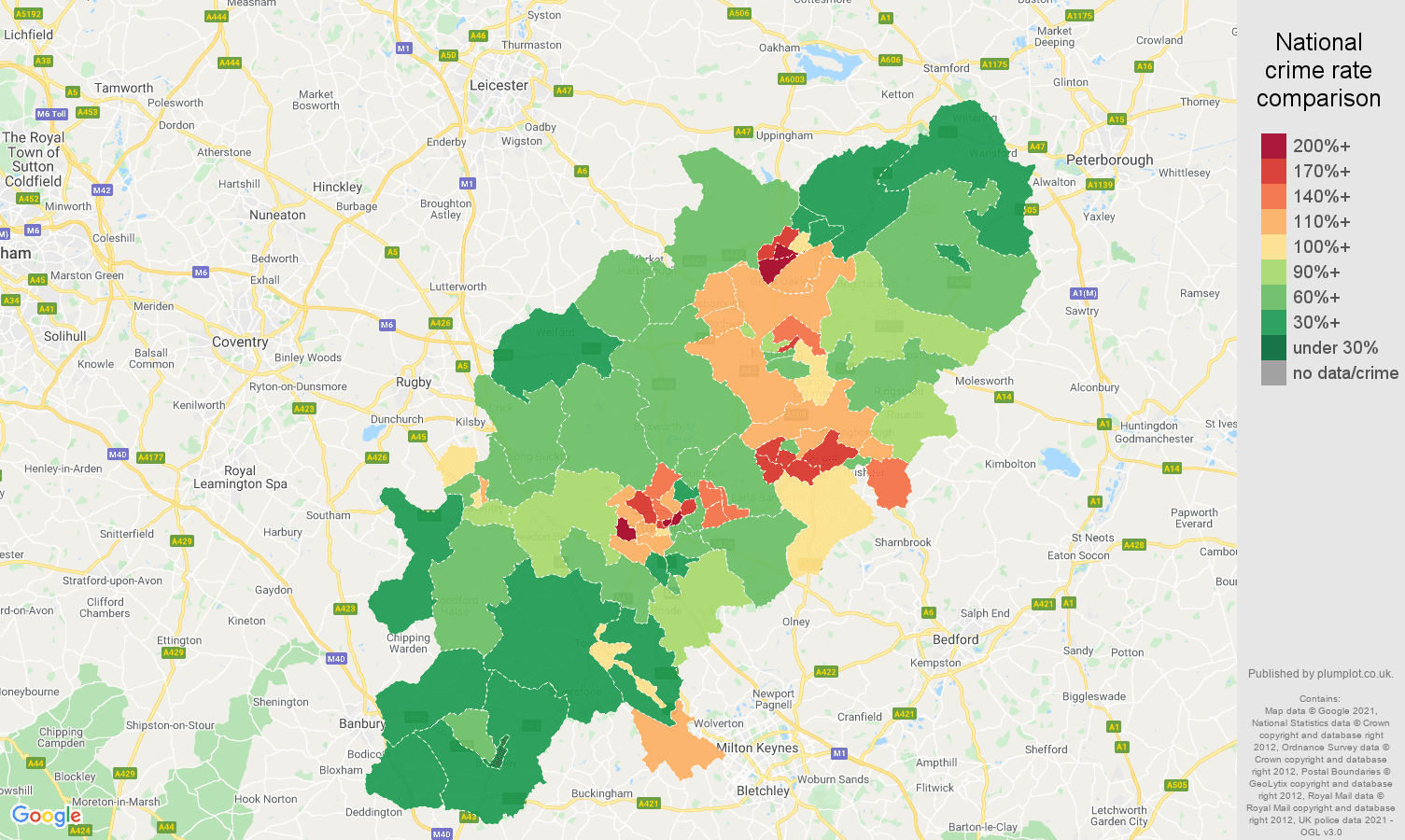 Northamptonshire criminal damage and arson crime rate comparison map