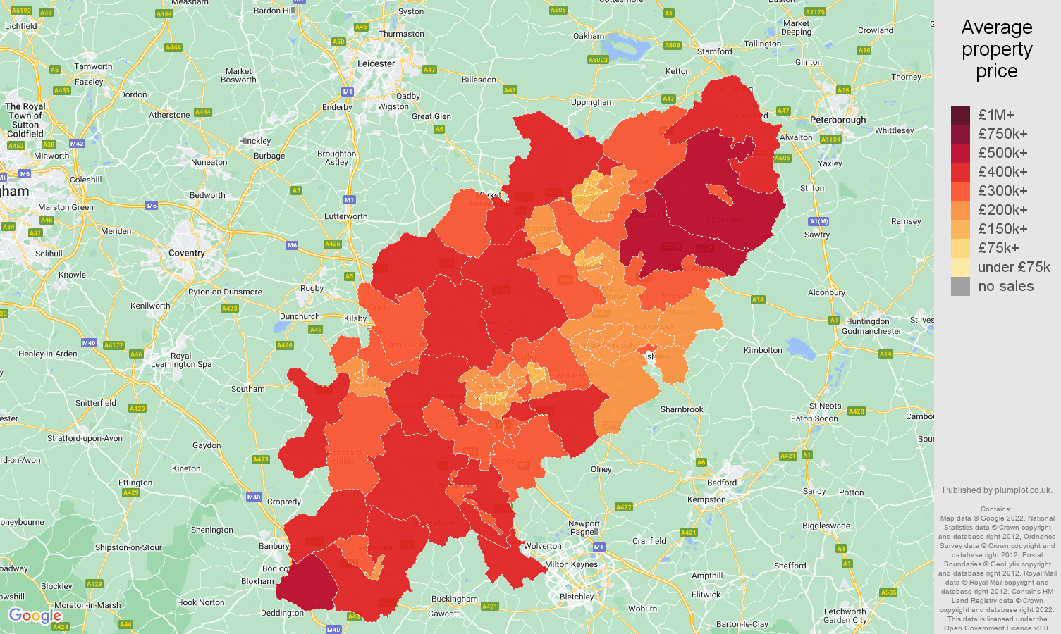 Northamptonshire house prices map