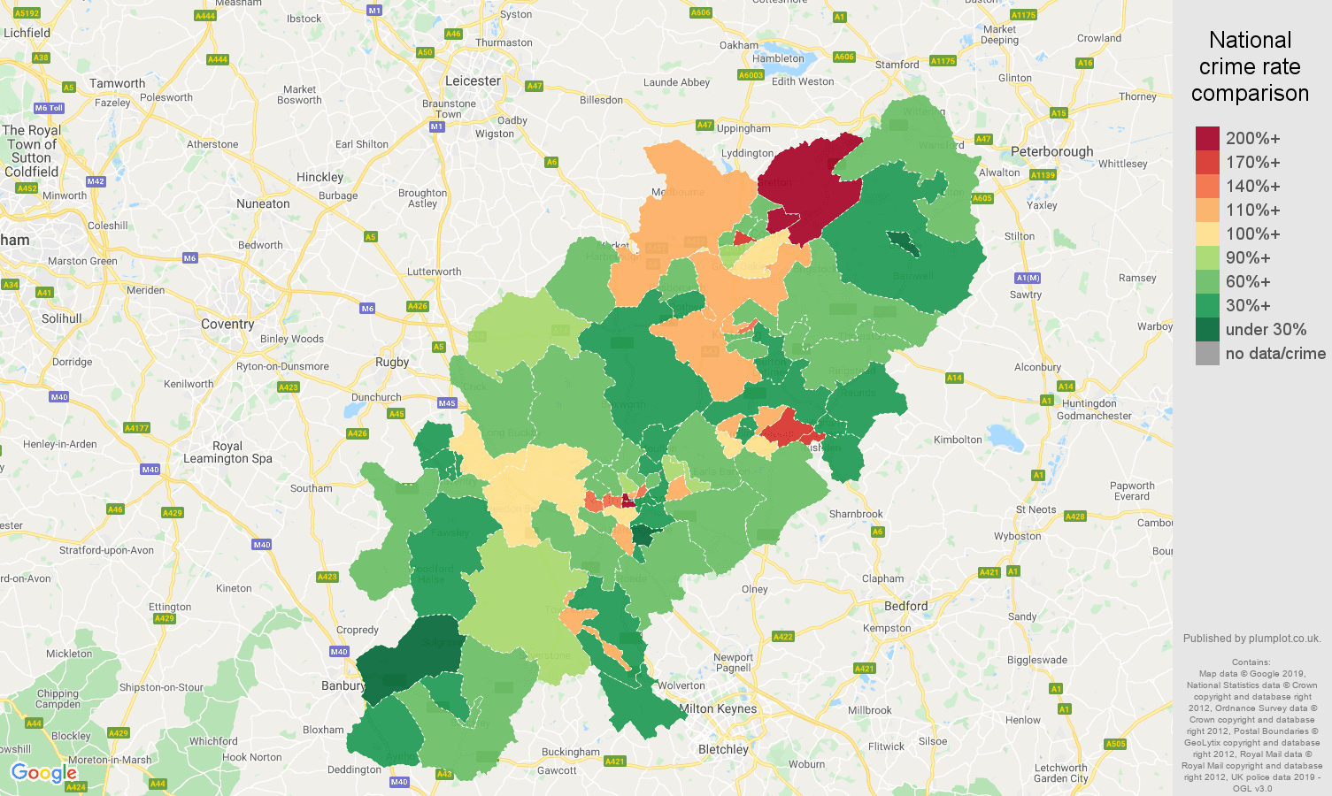 Northamptonshire other theft crime rate comparison map