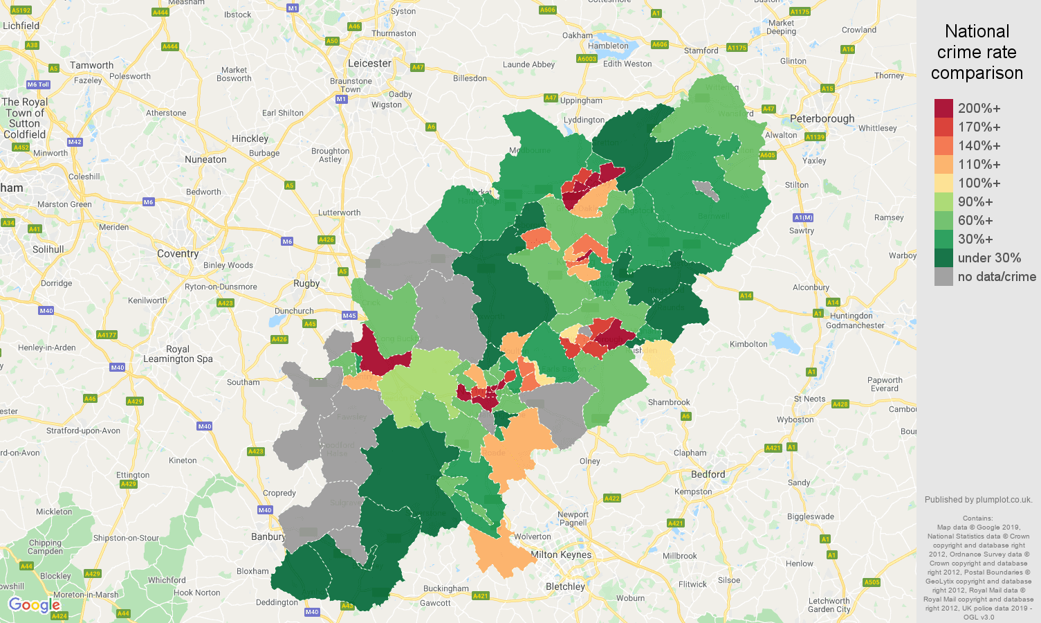 Northamptonshire possession of weapons crime rate comparison map