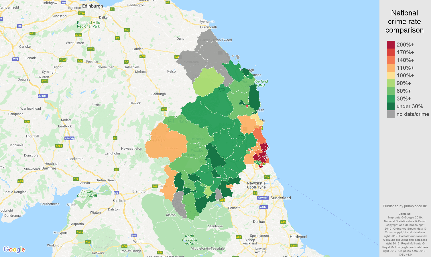 Northumberland public order crime rate comparison map