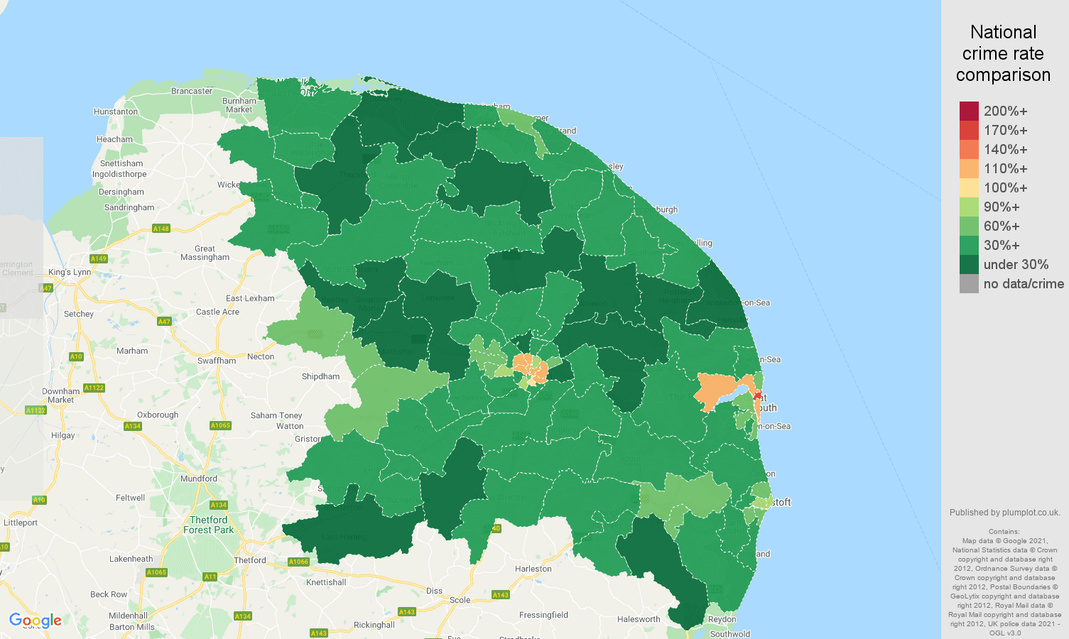 Norwich antisocial behaviour crime rate comparison map