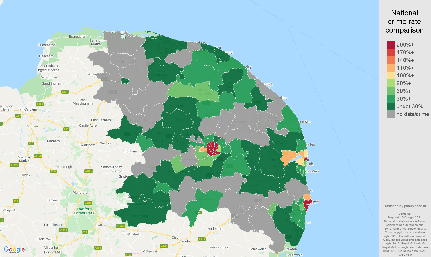 Norwich bicycle theft crime rate comparison map