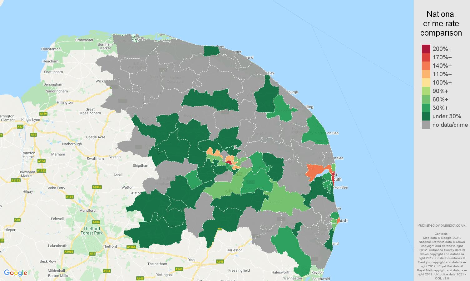 Norwich robbery crime rate comparison map