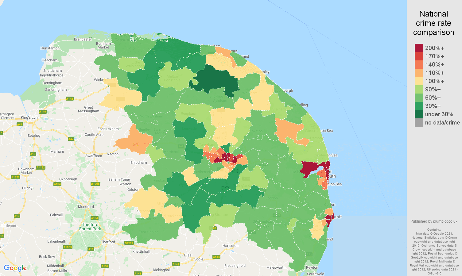 Norwich violent crime rate comparison map