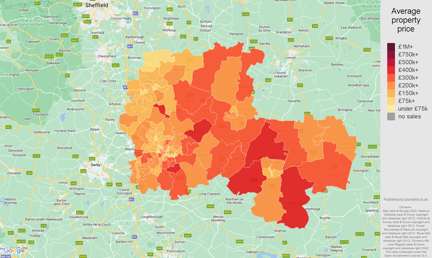 Nottingham house prices map