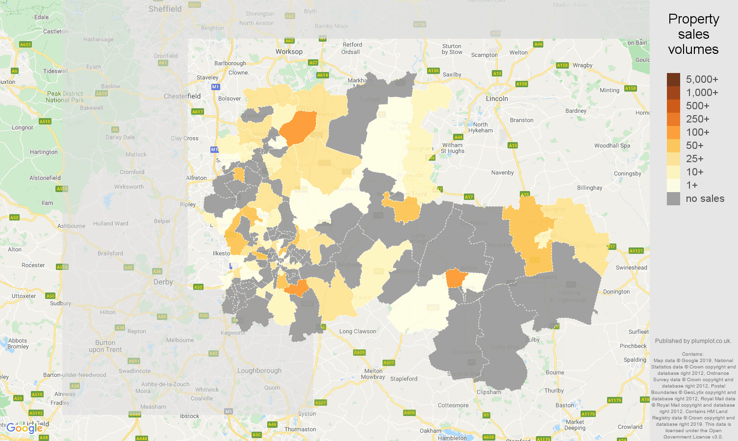 Nottingham map of sales of new properties