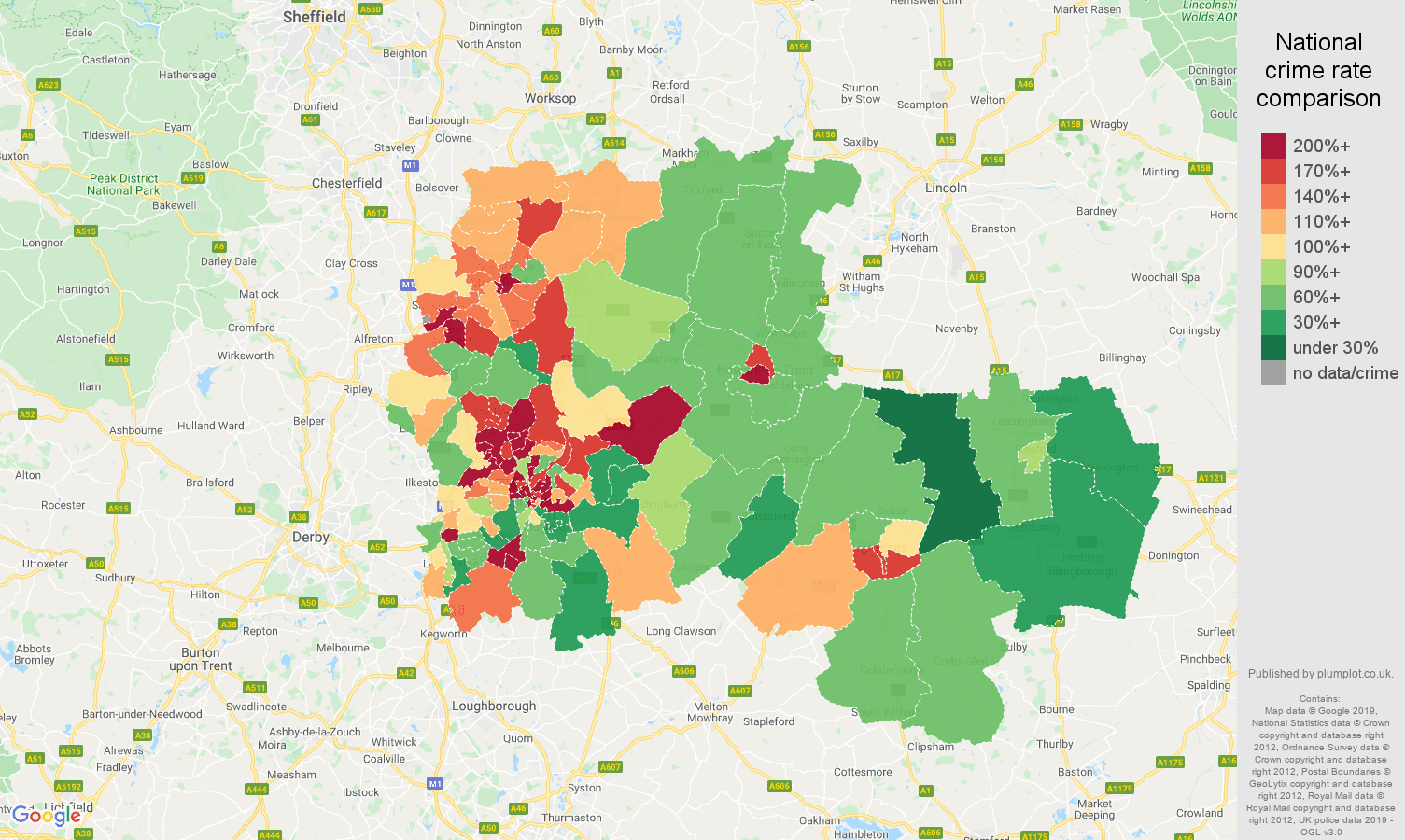 Nottingham other crime rate comparison map
