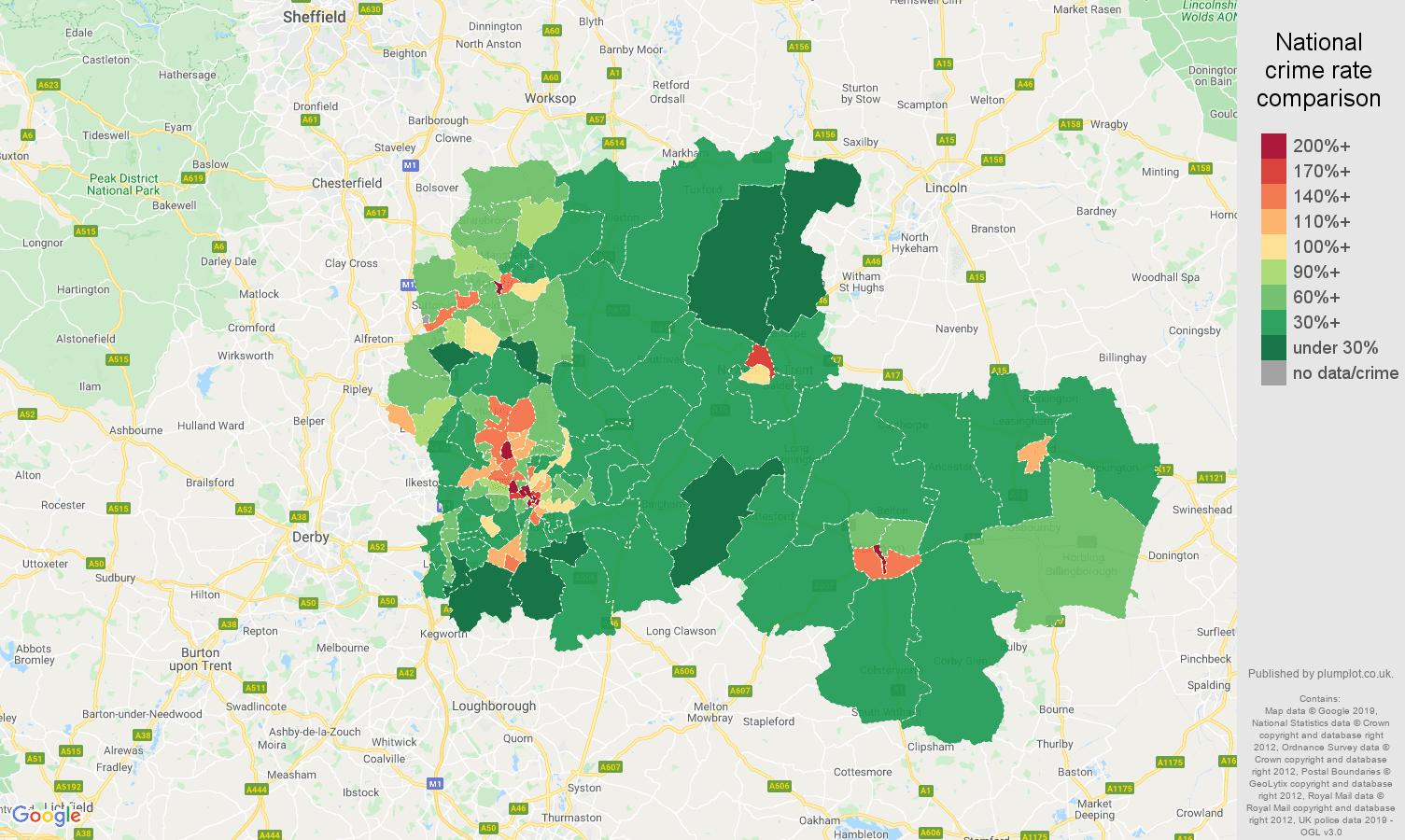 Nottingham public order crime rate comparison map