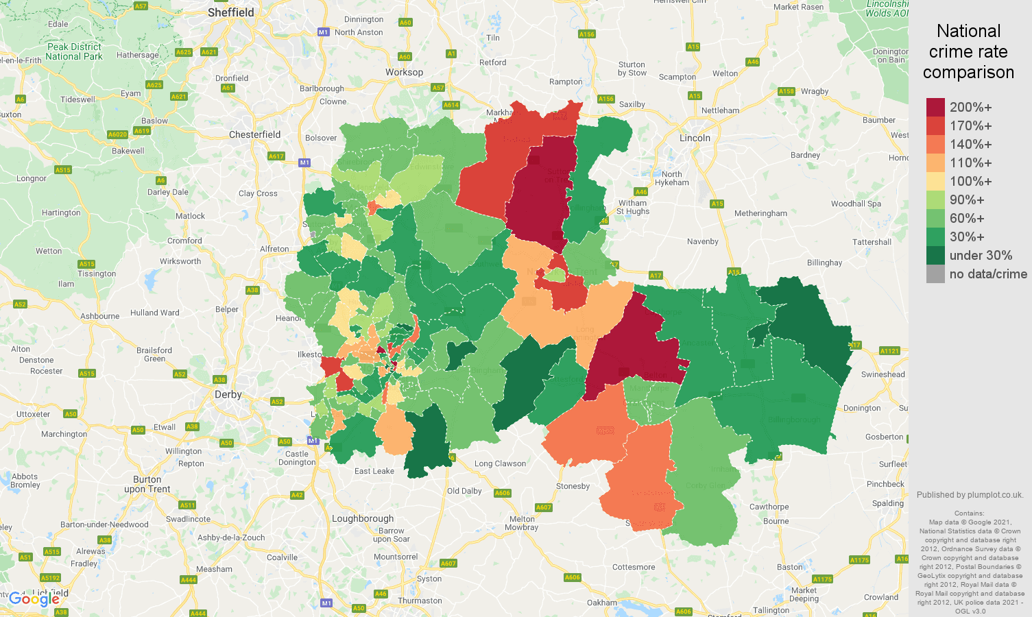Nottingham vehicle crime rate comparison map