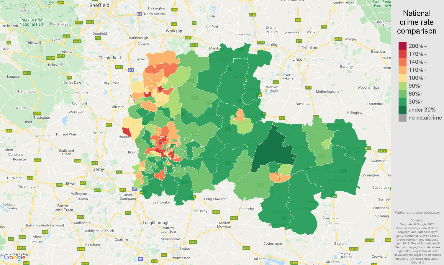 Nottingham violent crime rate comparison map