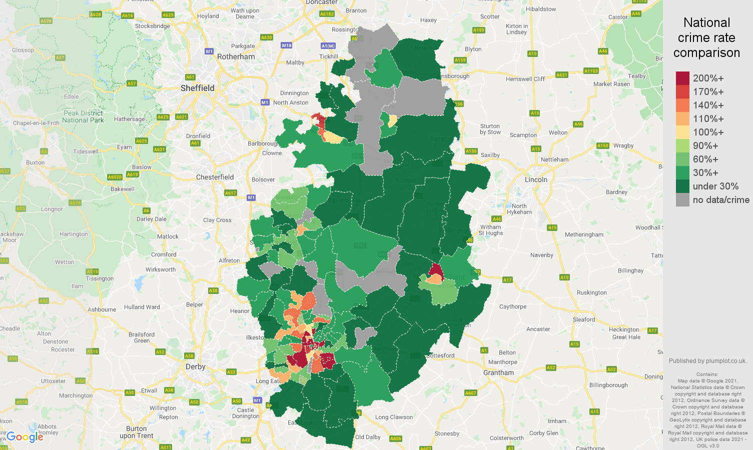 Nottinghamshire bicycle theft crime rate comparison map