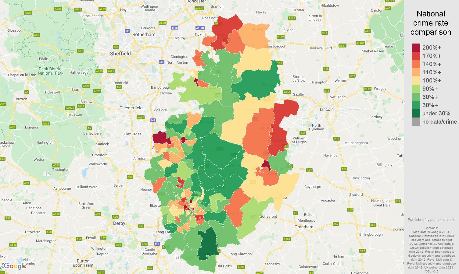 Nottinghamshire burglary crime rate comparison map