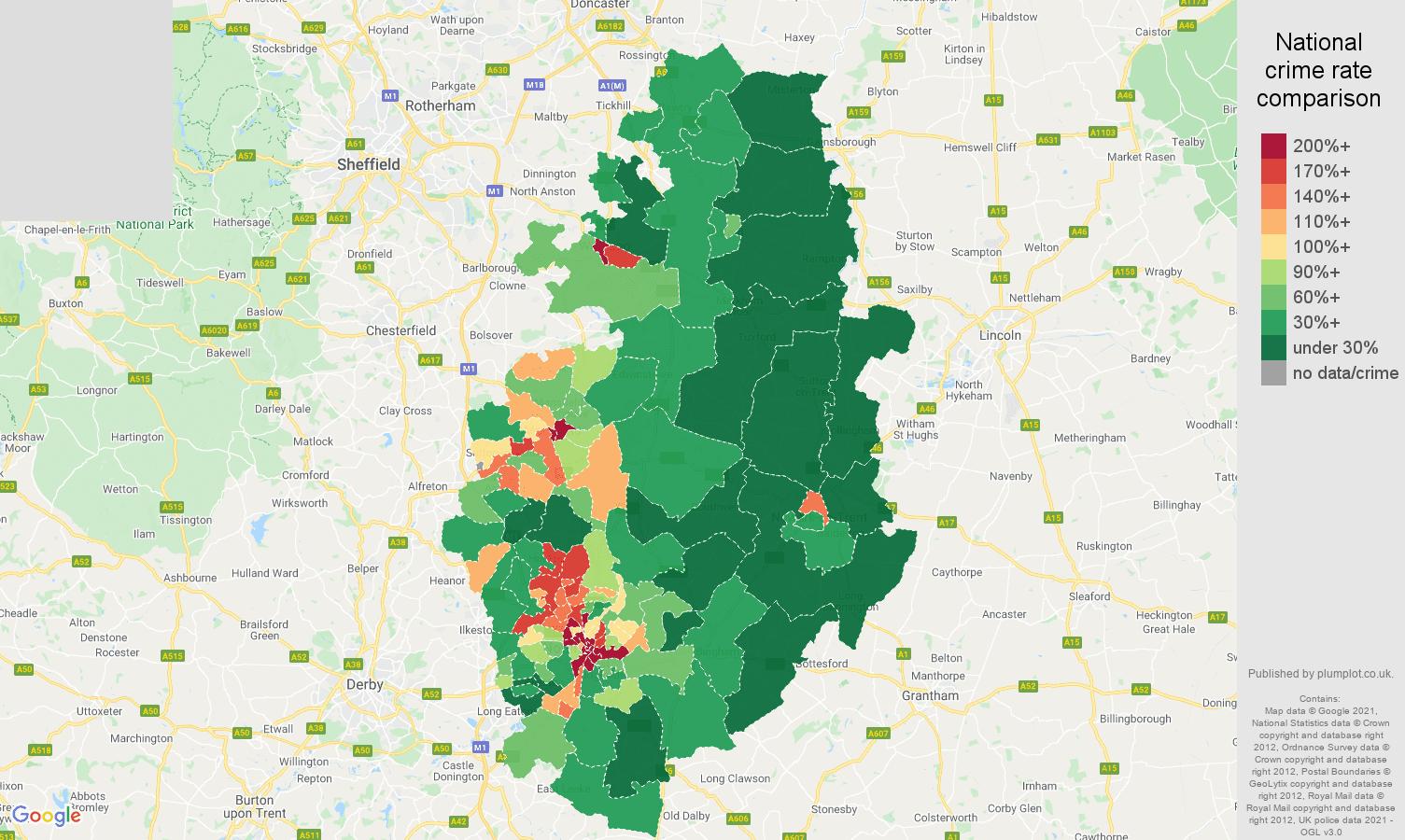 Nottinghamshire drugs crime rate comparison map