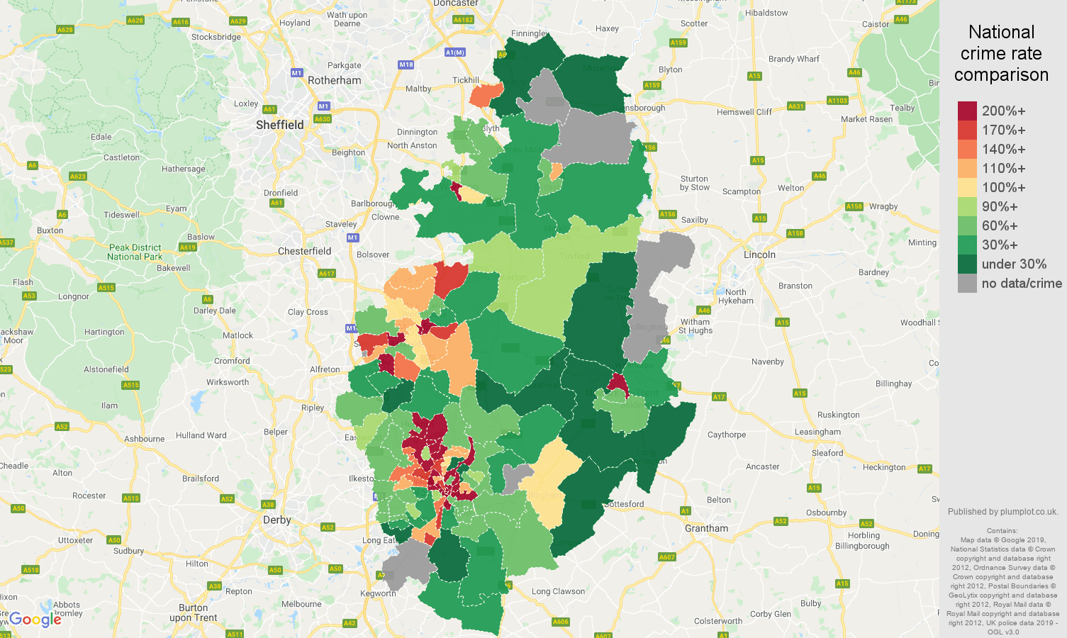 Nottinghamshire possession of weapons crime rate comparison map