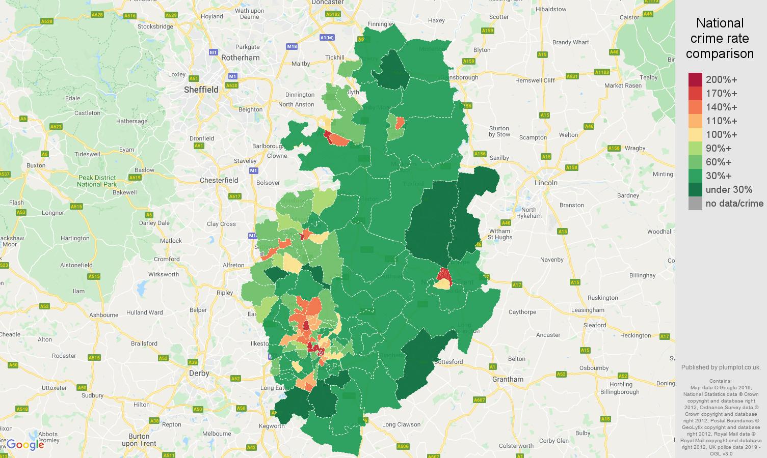 Nottinghamshire public order crime rate comparison map