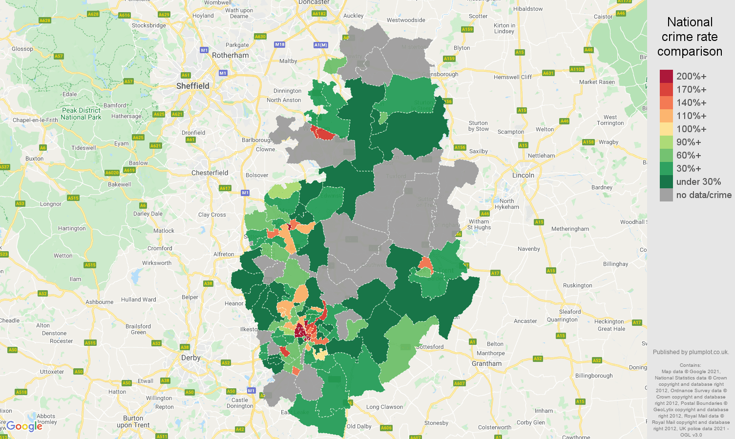 Nottinghamshire theft from the person crime rate comparison map