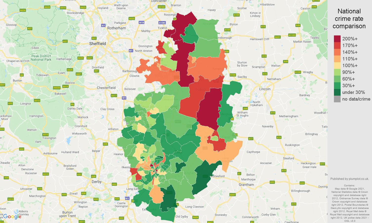 Nottinghamshire vehicle crime rate comparison map