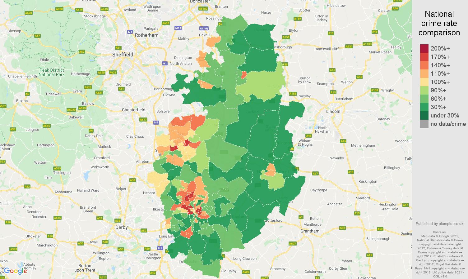 Nottinghamshire violent crime rate comparison map