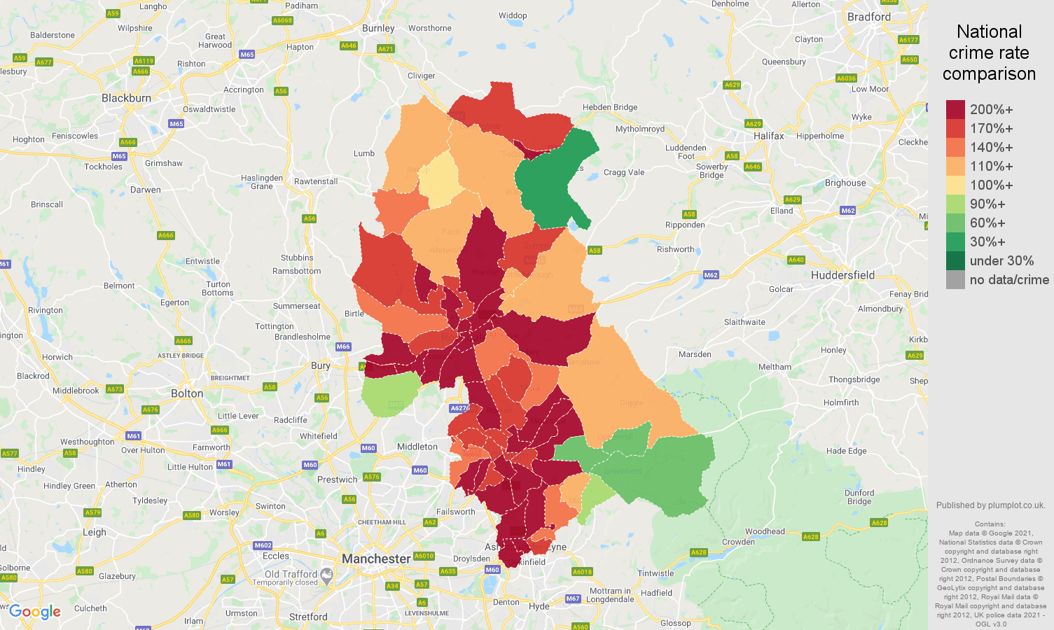 Oldham other crime rate comparison map