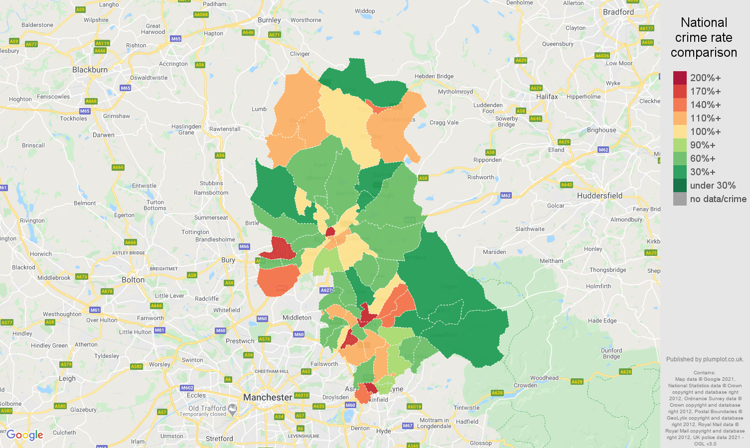 Oldham other theft crime rate comparison map