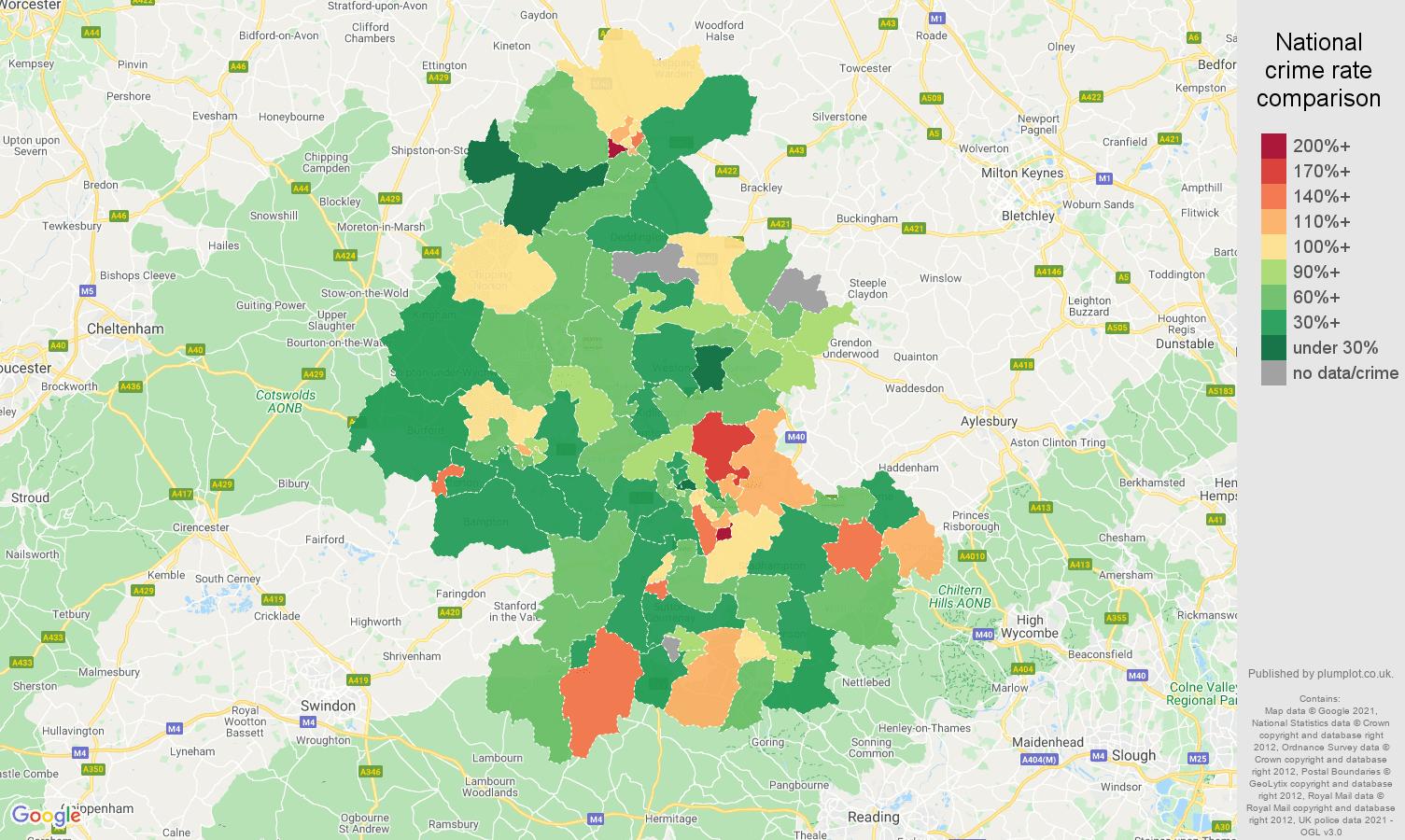 Oxford criminal damage and arson crime rate comparison map