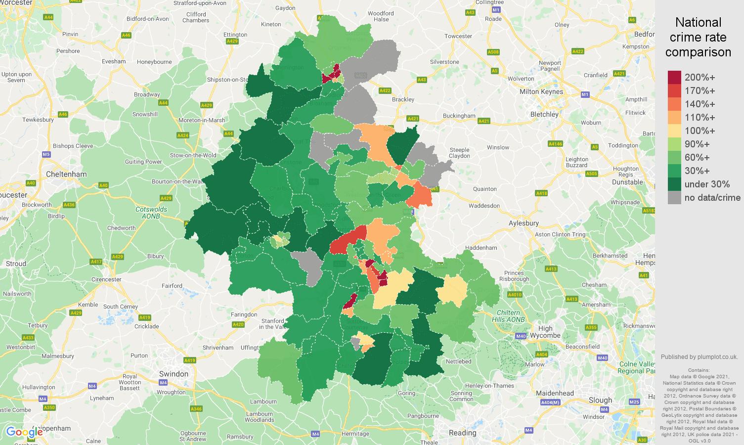 Oxford drugs crime rate comparison map