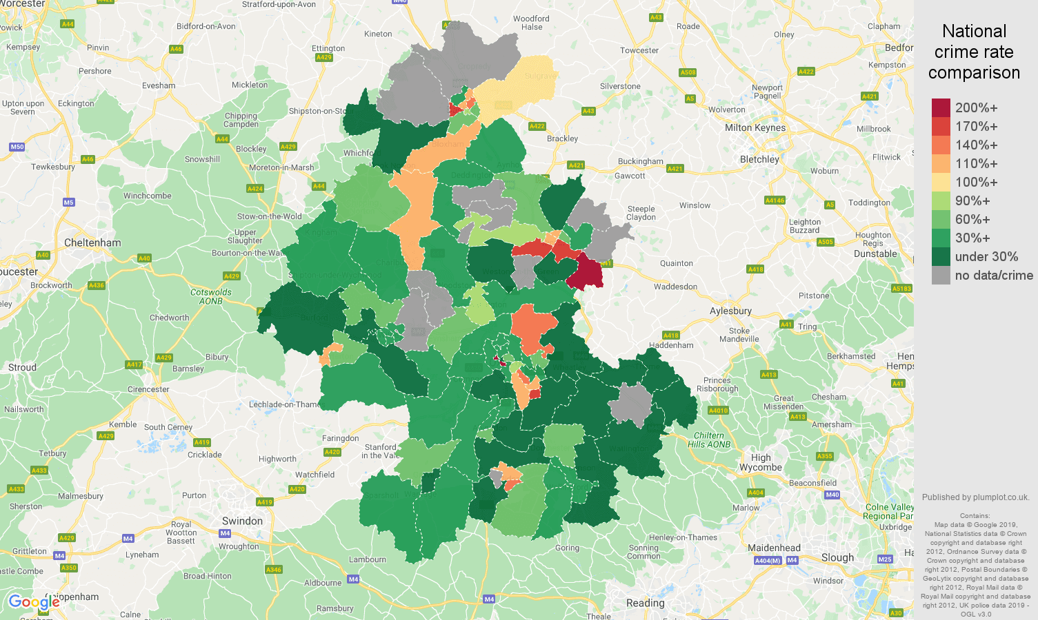 Oxford other crime rate comparison map