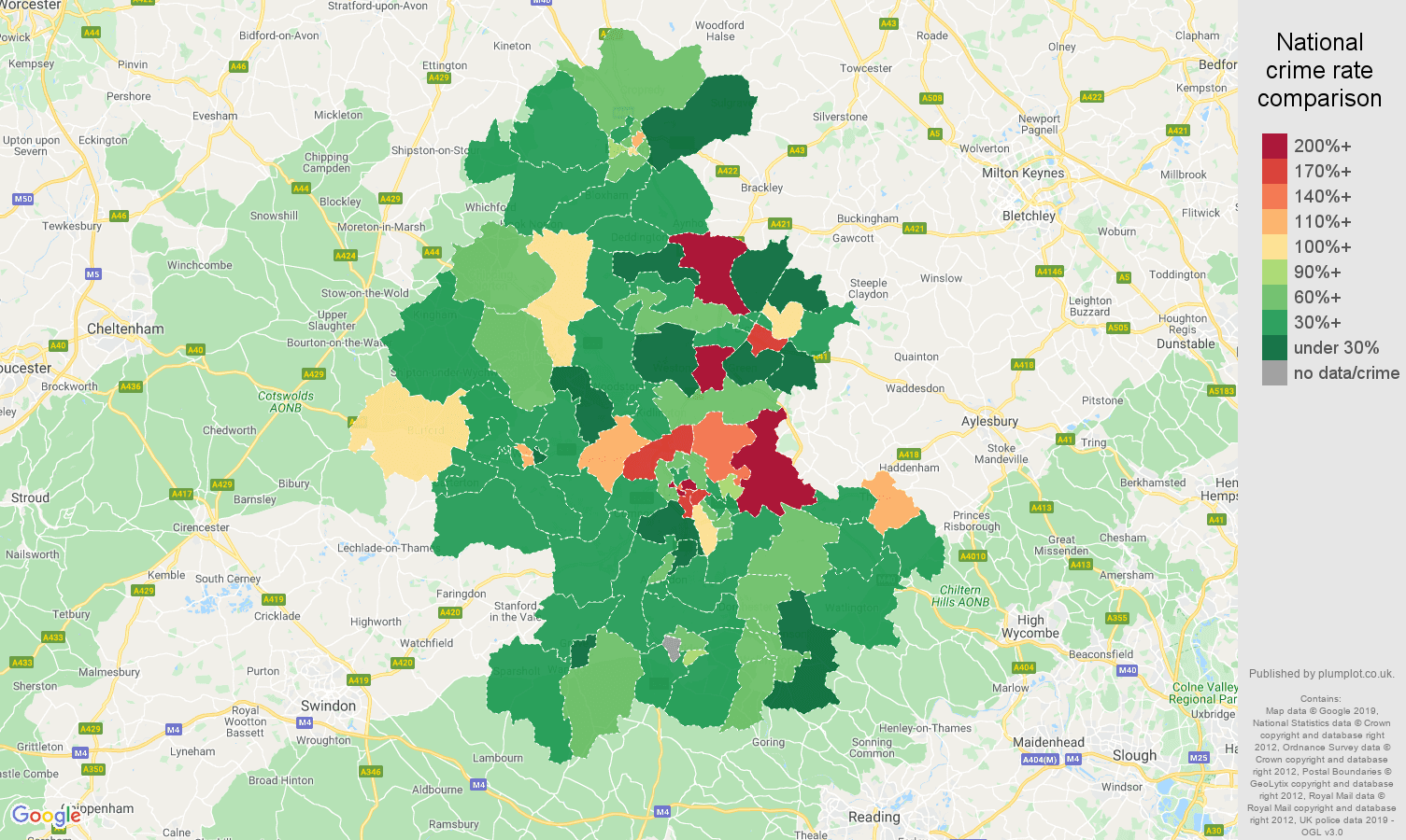 Oxford other theft crime rate comparison map