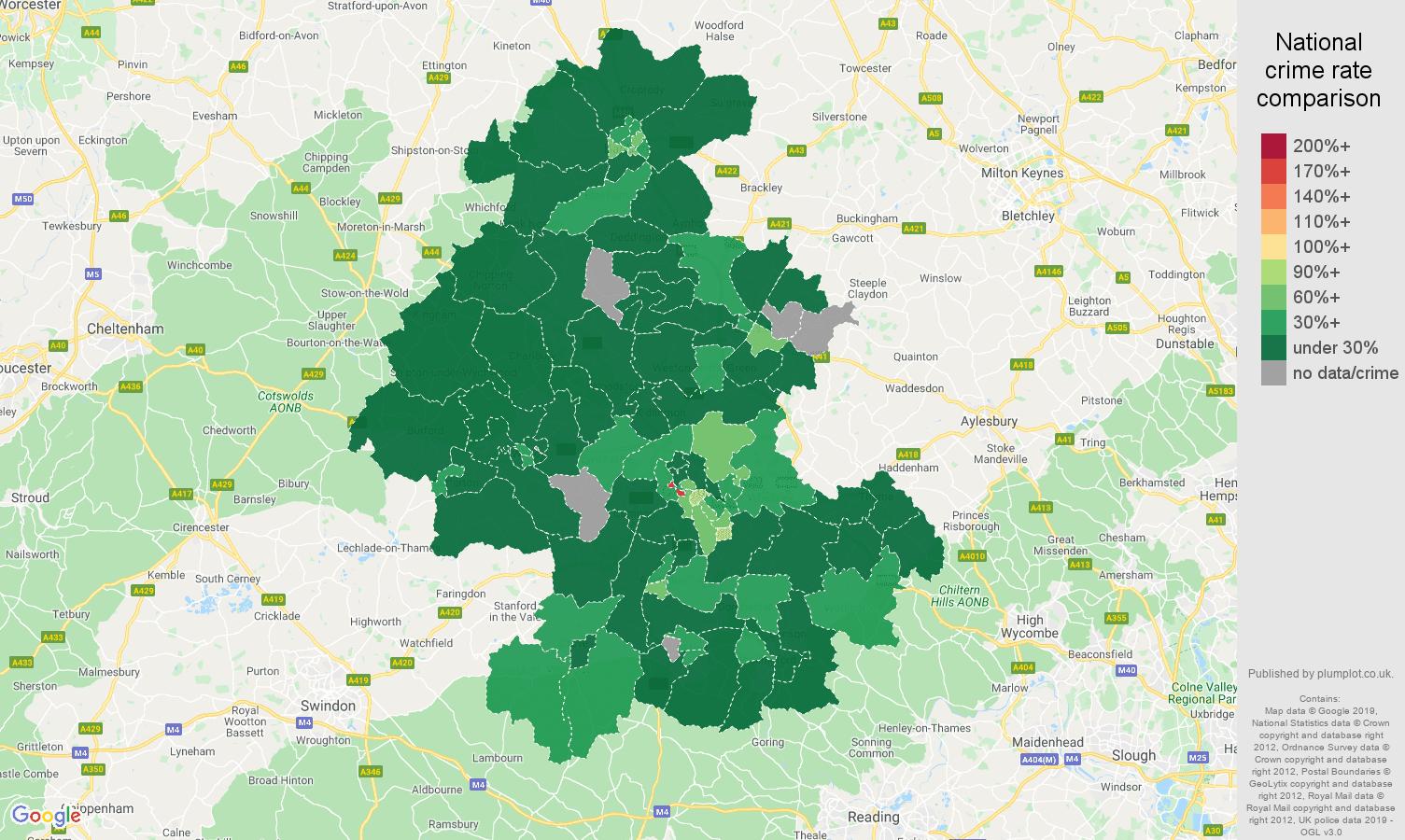 Oxford public order crime rate comparison map