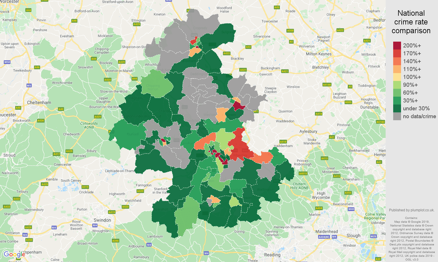 Oxford shoplifting crime rate comparison map