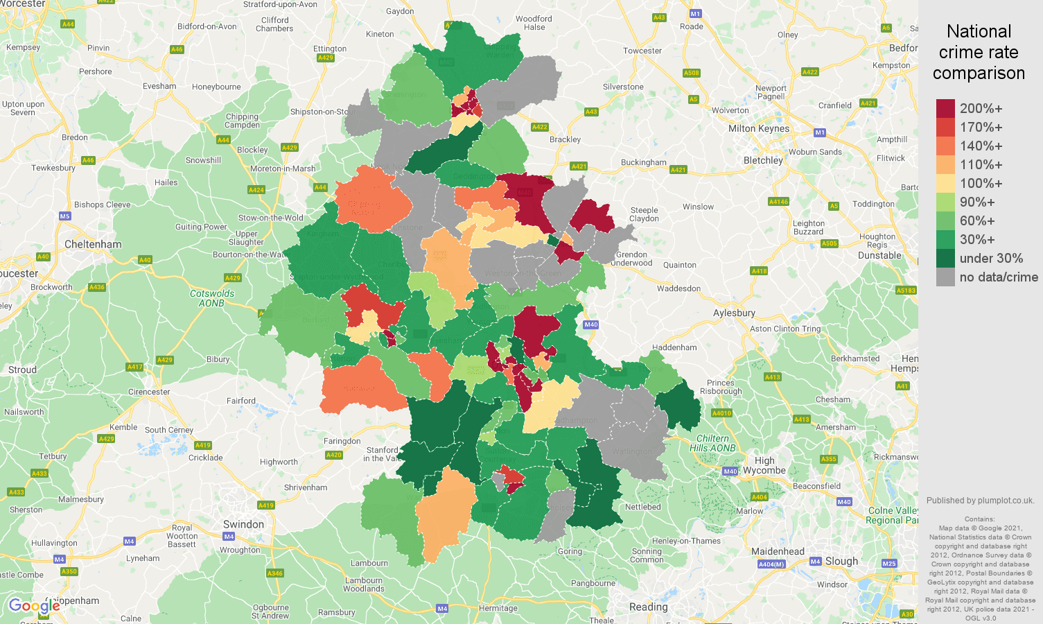 Oxford theft from the person crime rate comparison map