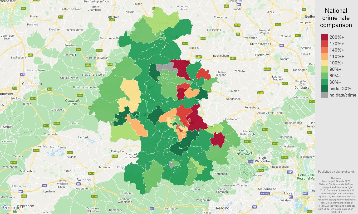 Oxford vehicle crime rate comparison map