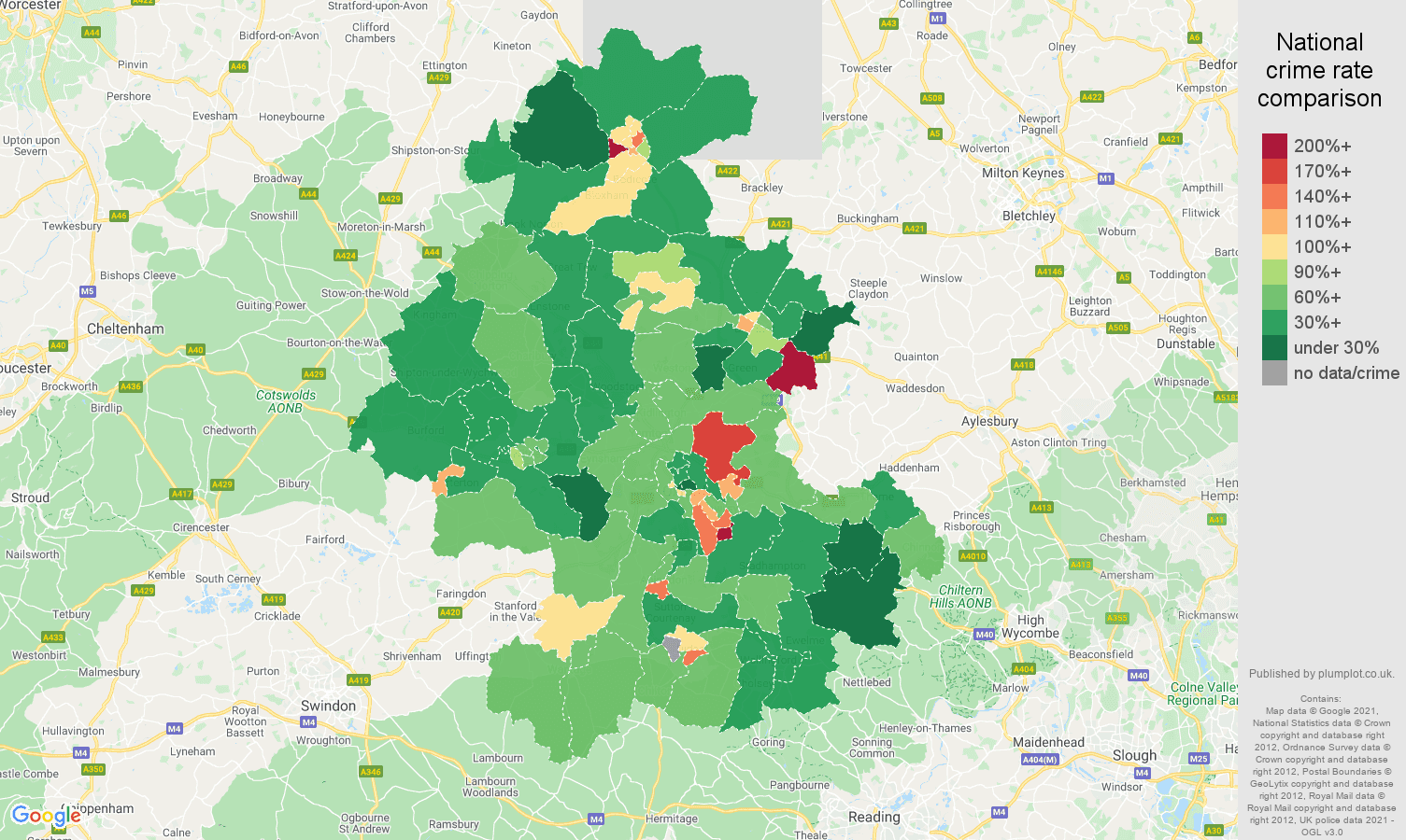 Oxford violent crime rate comparison map
