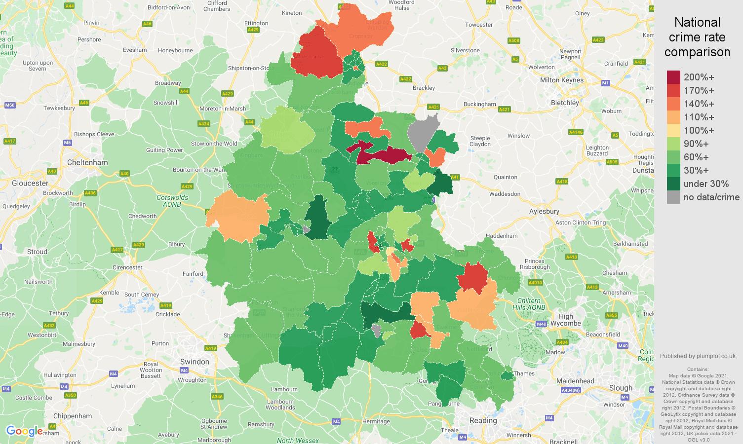 Oxfordshire burglary crime rate comparison map