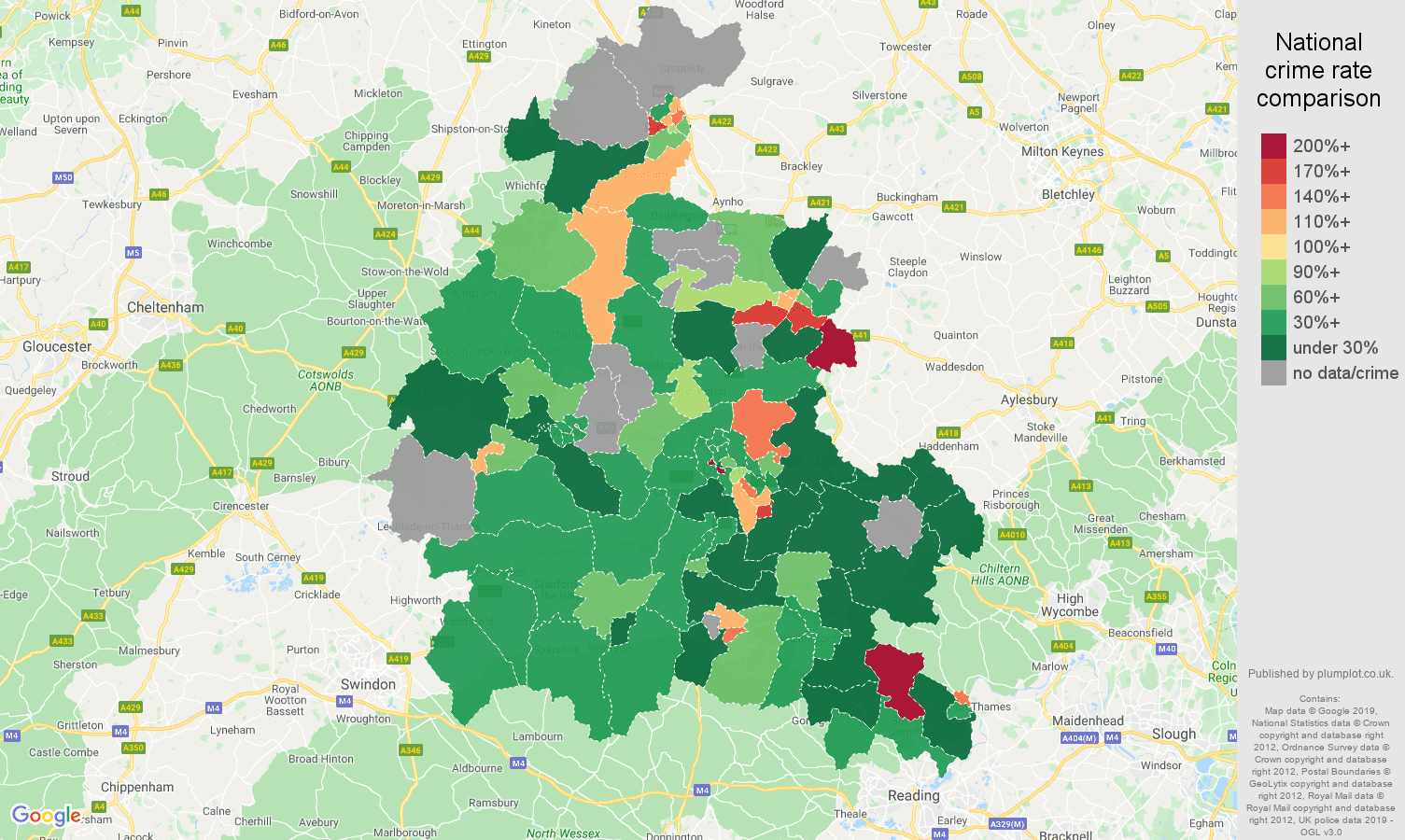 Oxfordshire other crime rate comparison map