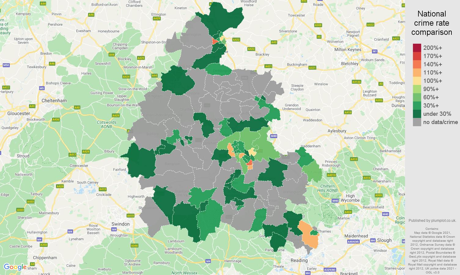 Oxfordshire robbery crime rate comparison map